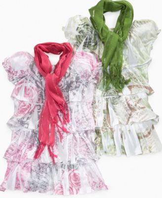 Beautees Kids Set, Girls Tiered Sublimation Top and Scarf