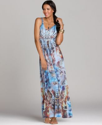Style&co. Dress, Sleeveless Studded Printed Maxi