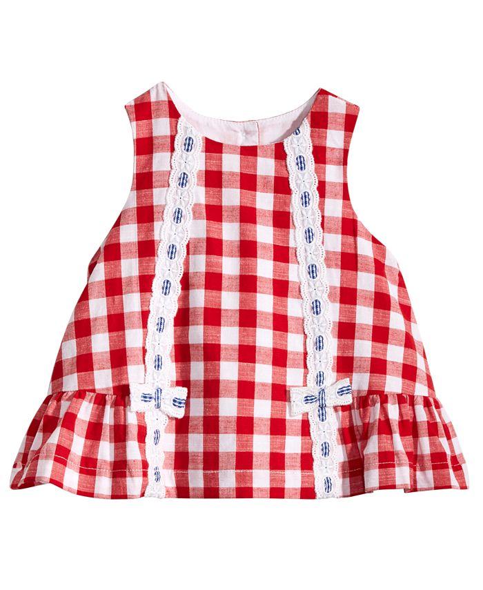 Marmellata - Red & White Gingham Cotton Dress, Baby Girls