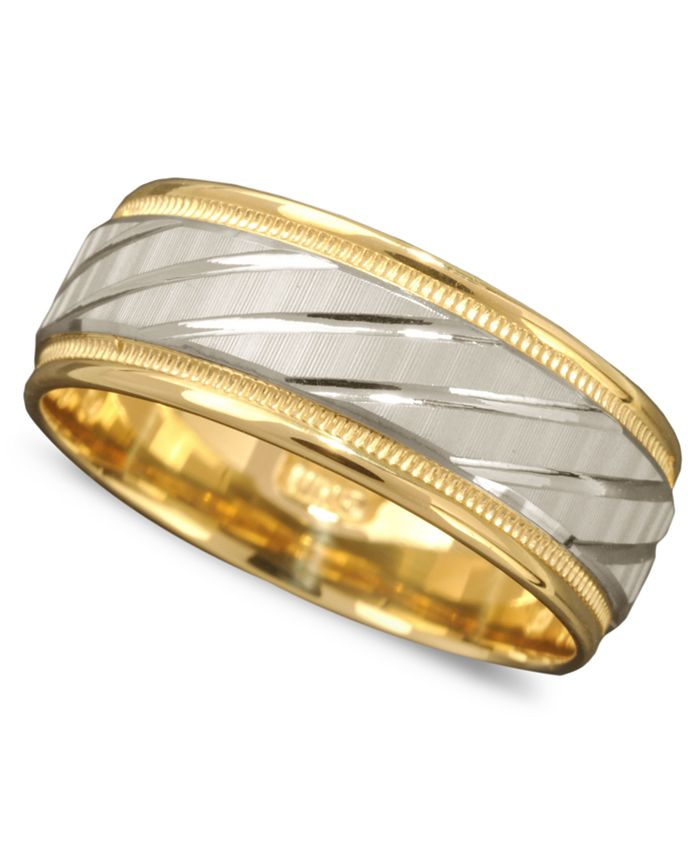 Macy's - Men's 14k Gold and 14k White Gold Ring, Spiral Dome Band
