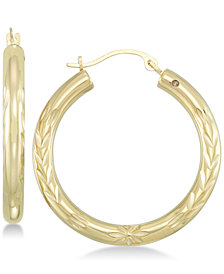 Signature Gold™ Diamond Accent Leaf Embossed Hoop Earrings in 14k Gold over Resin
