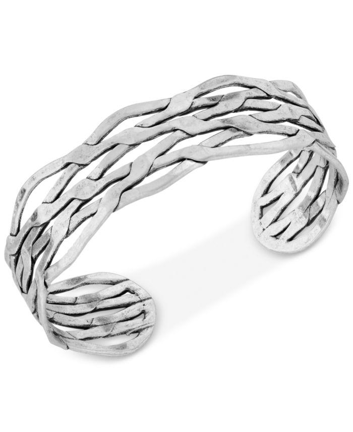 Lucky Brand Silver-Tone Twisted Cuff Bracelet & Reviews - Bracelets - Jewelry & Watches - Macy's