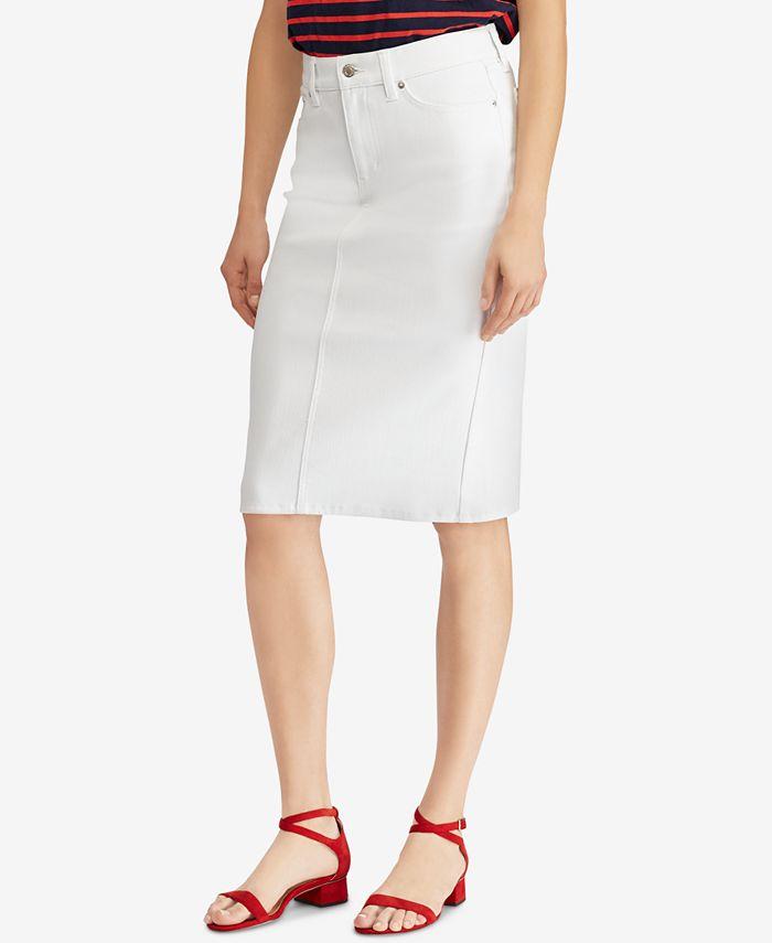 Lauren Ralph Lauren - Embroidered Denim Skirt