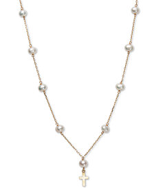 """Children's Cultured Freshwater Pearl (5mm) 14"""" Cross Pendant Necklace in 14k Gold"""