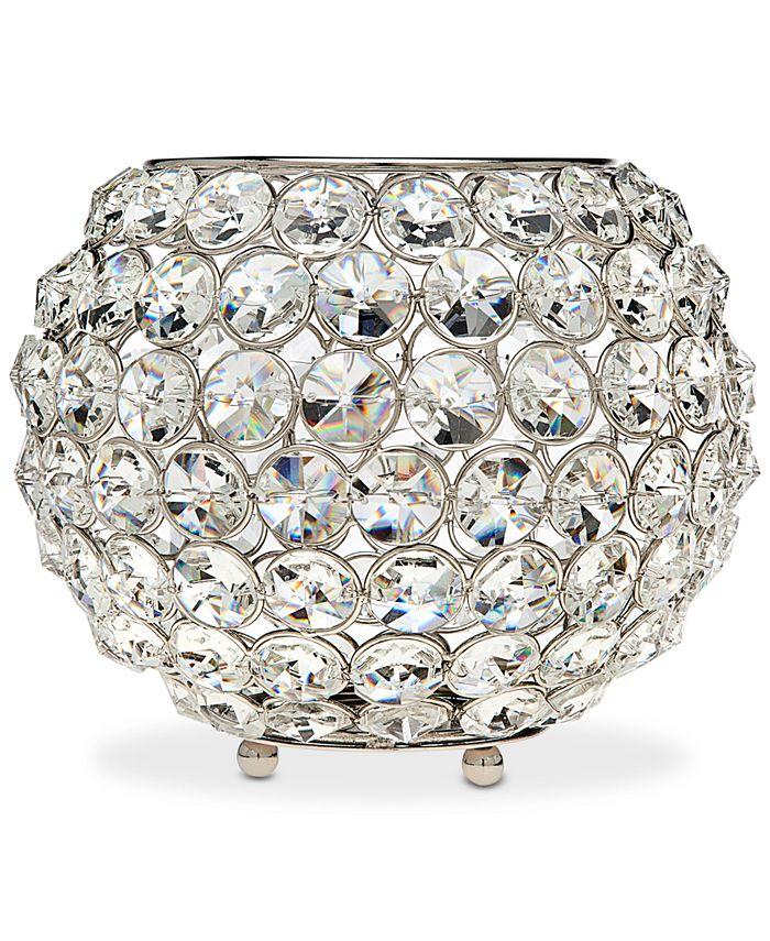 "Godinger - Lighting by Design Glam 8"" Nickel-Plated Ball Crystal Tealight Holder"