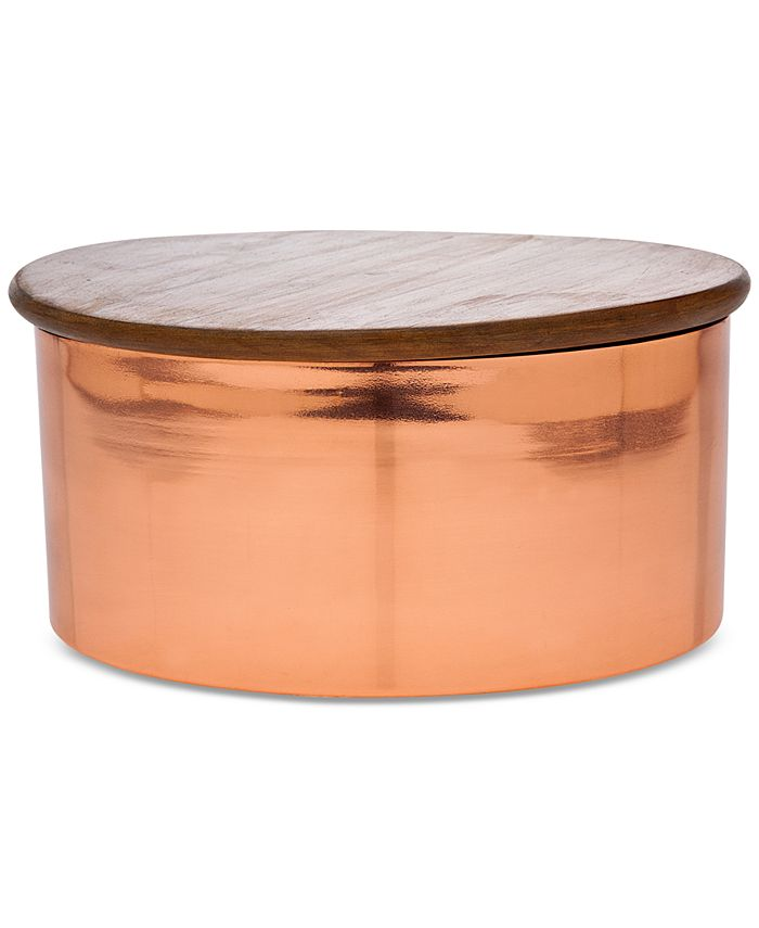 "Godinger - 8"" Copper Canister with Wood Lid"