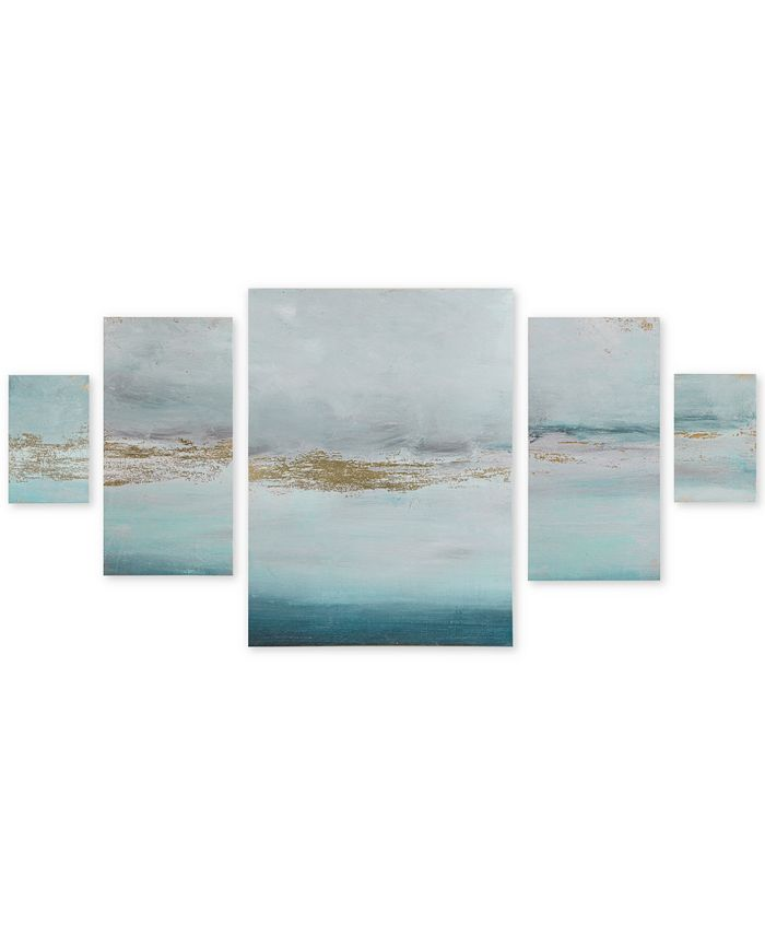 JLA Home - Madison Park Glistening Gold Marble 5-Pc. Gel-Coated Canvas Print Set with Gold-Tone Foil