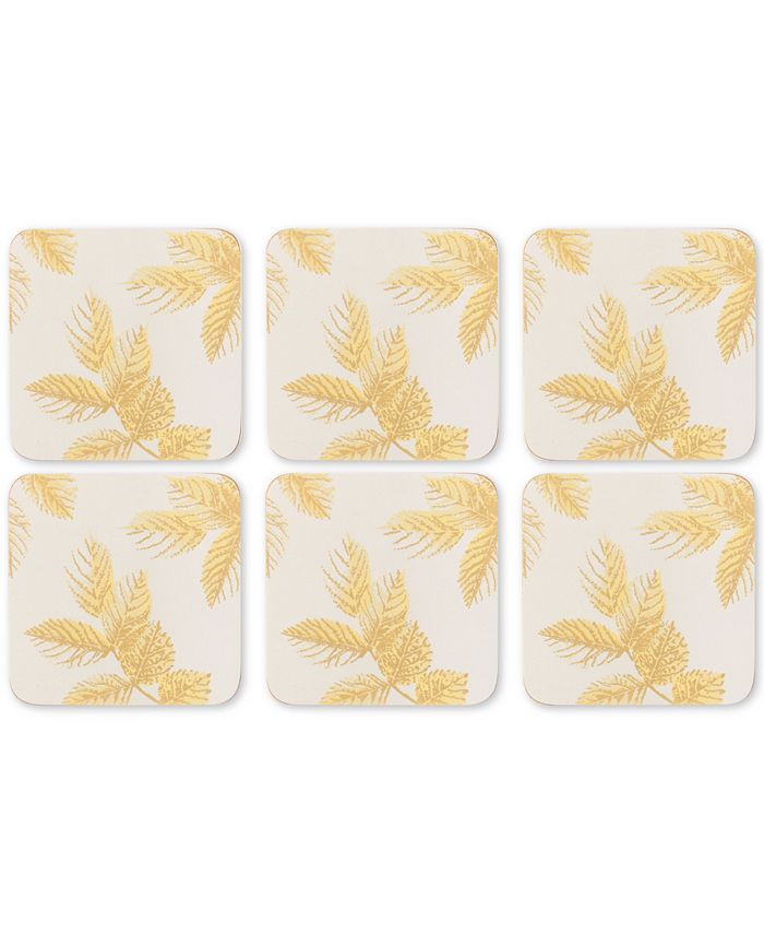 Portmeirion - Etched Leaves Set of 6 Light Gray Coasters