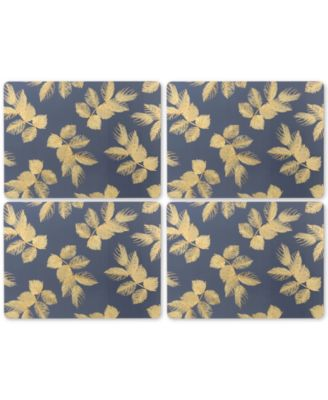Etched Leaves Navy Set of 4 Placemats