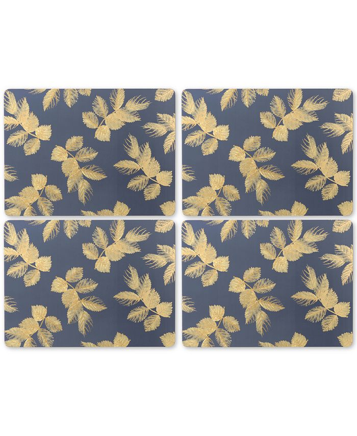 Pimpernel - Etched Leaves (Navy) Set of 4 Placemats
