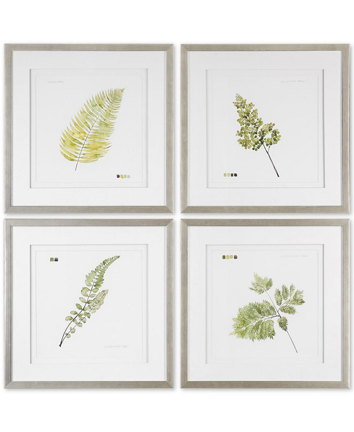 Uttermost - Watercolor Leaf Study 4-Pc. Printed Wall Art Set