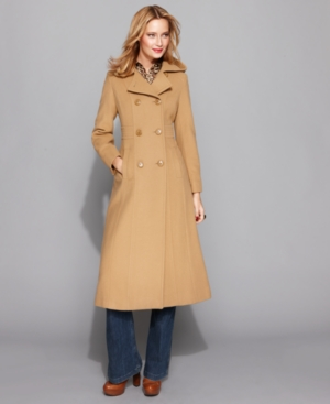 AK Anne Klein Coat, Long Double Breasted Hooded Wool Blend