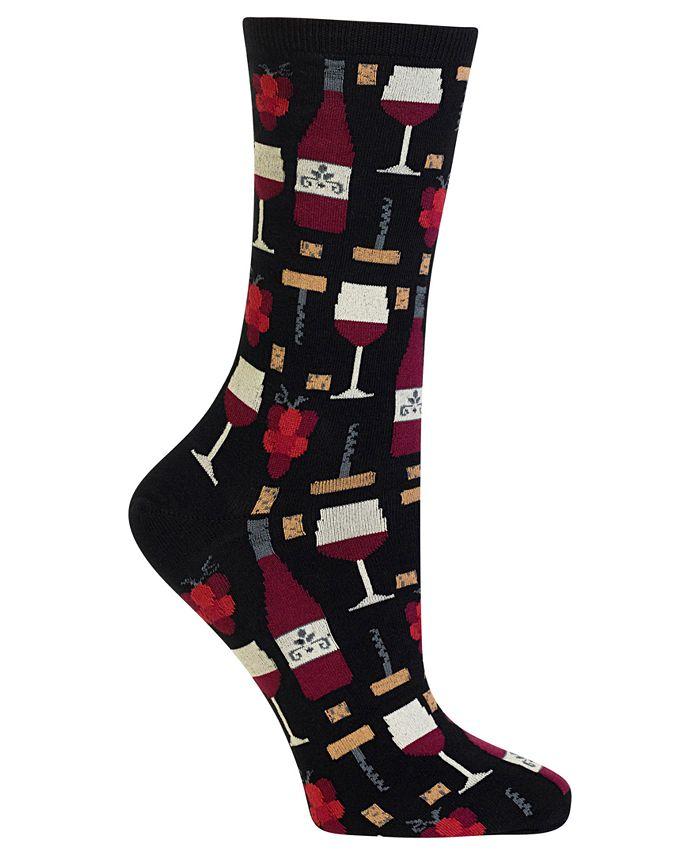 Hot Sox - Socks, Wine & Cheese Printed Crew  Coffee