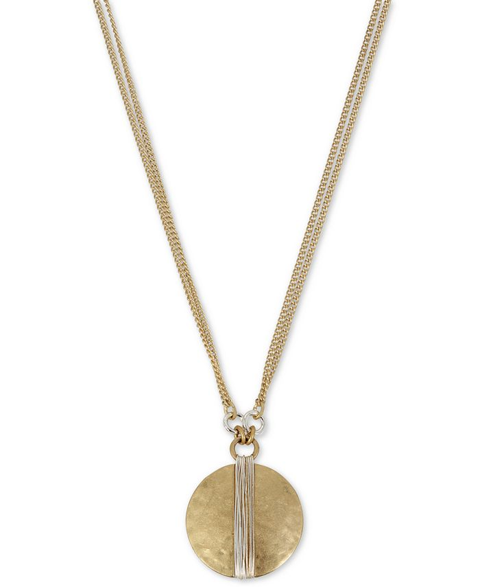 "Robert Lee Morris Soho - Two-Tone Wire-Wrapped Pendant Necklace, 17"" + 3"" extender"