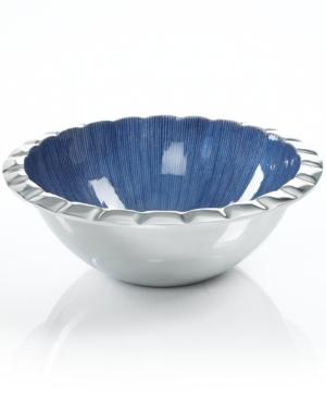 Simply Designz Serveware, Parisian Blue Fluted Salad Bowl