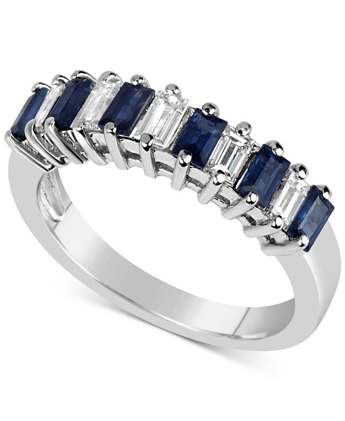 Macy's - Sapphire (9/10 ct. t.w.) & Diamond (1/5 ct. t.w.) Ring in 14k White Gold