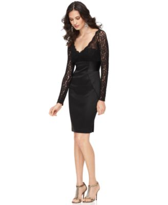Maggy London New V Neck Lace with Satin Skirt Little Black Dress 10