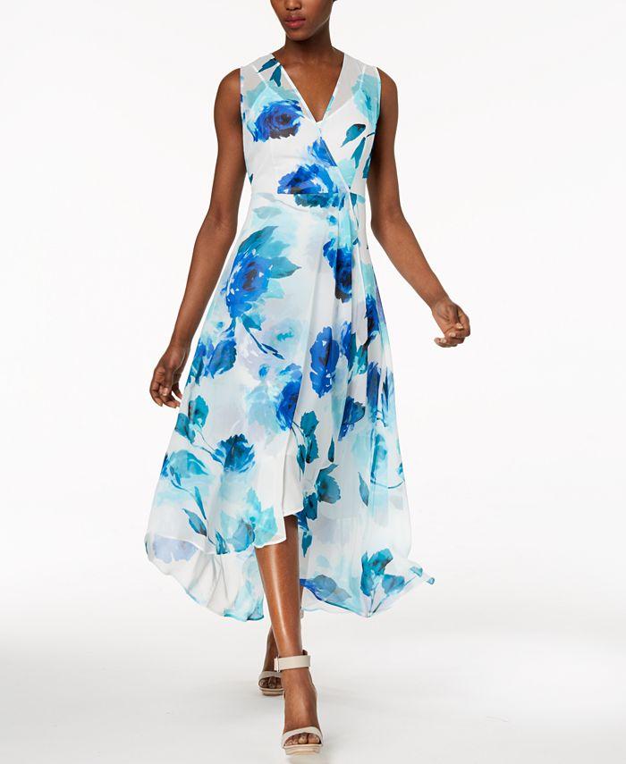 Calvin Klein - Printed Chiffon Faux-Wrap Dress