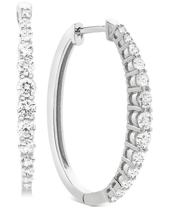 Macy's Diamond Hoop Earrings (1 ct. t.w.) in 14k Gold, Rose Gold, or White Gold
