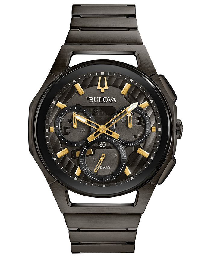 Bulova - Men's Chronograph Curv Gray Stainless Steel Bracelet Watch 44mm