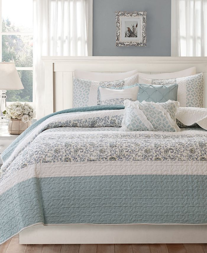 Madison Park - Dawn 6-Pc. Quilted Full/Queen Coverlet Set