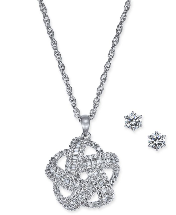 Charter Club 2-Pc. Silver-Tone Set Crystal Baguette Knot Pendant Necklace & Crystal Stud Earrings, Created for Macy's & Reviews - Fashion Jewelry - Jewelry & Watches - Macy's