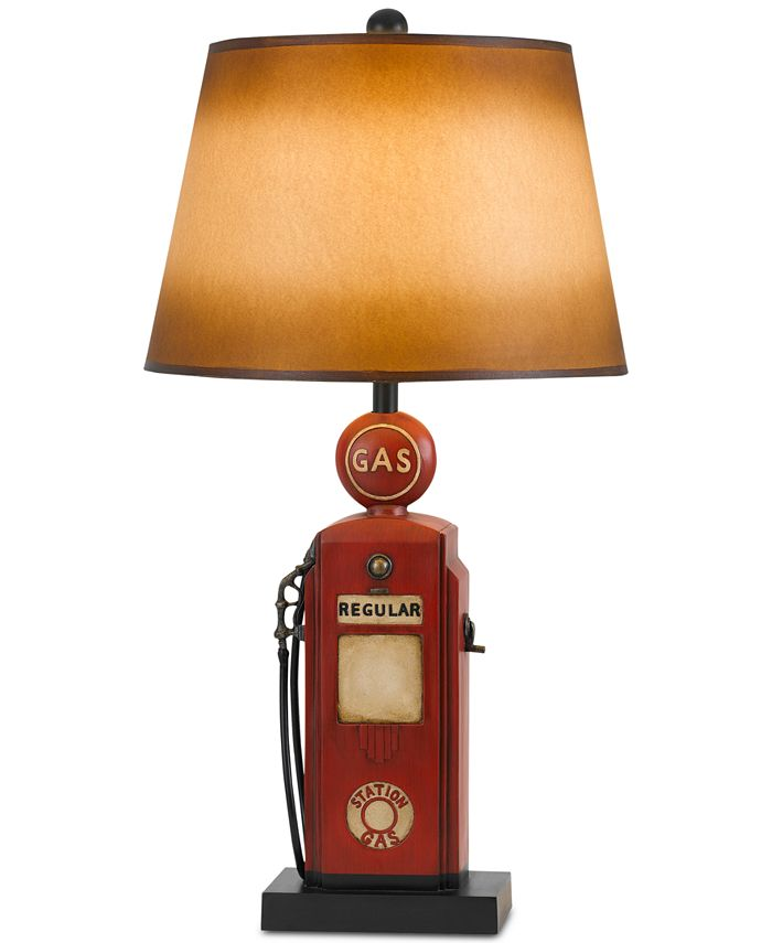 Cal Lighting - 3-Way Nostalgic Gas Pump Resin Table Lamp with Hand Painted Paper Shade