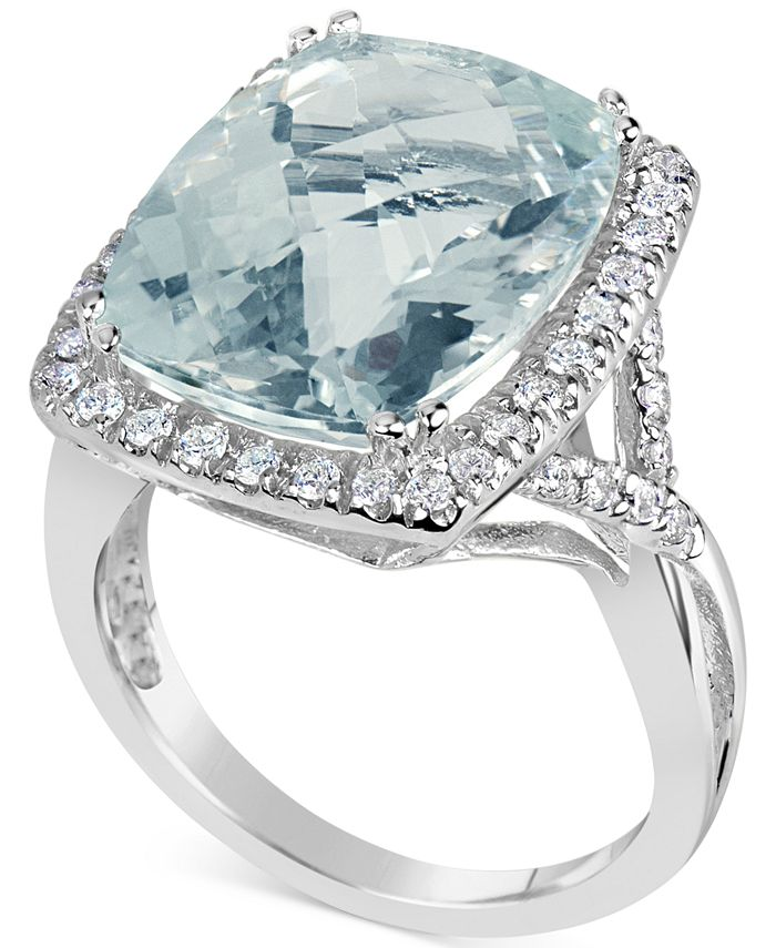 Macy's - Aquamarine (9-1/2 ct. t.w.) & Diamond (3/8 ct. t.w.) Ring in 14k White Gold