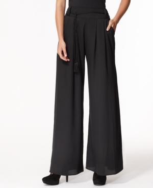 Bar III Pants, Wide Leg Tassel Belt Lightweight