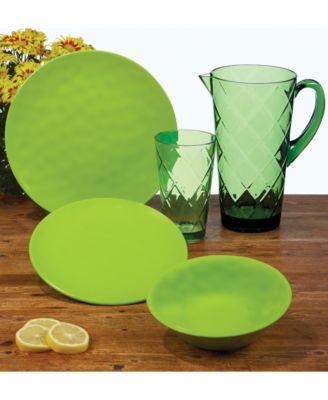 Green Diamond Acrylic 8-Pc. Iced Tea Glass Set