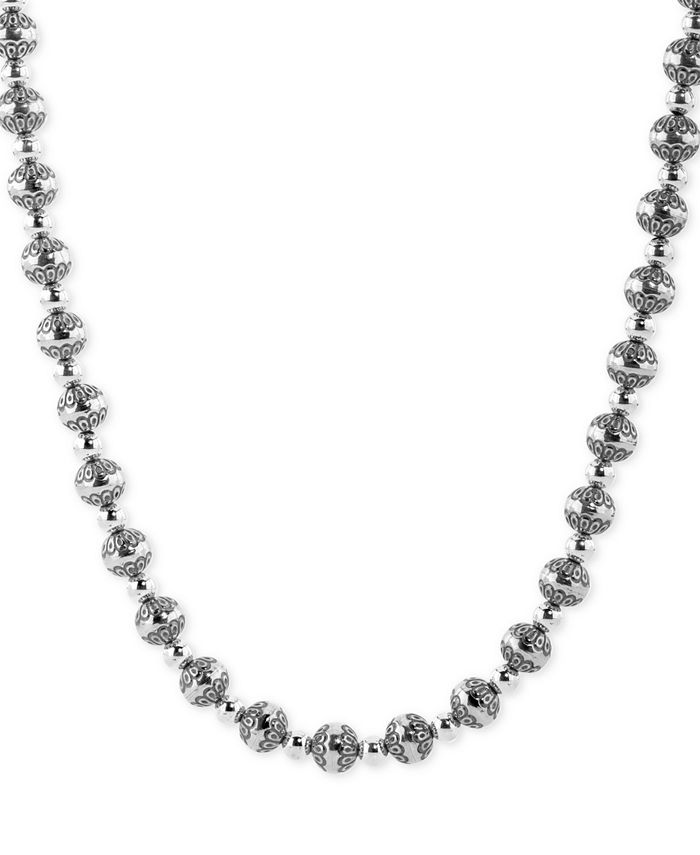 """American West - Decorative Bead 21"""" Statement Necklace in Sterling Silver"""