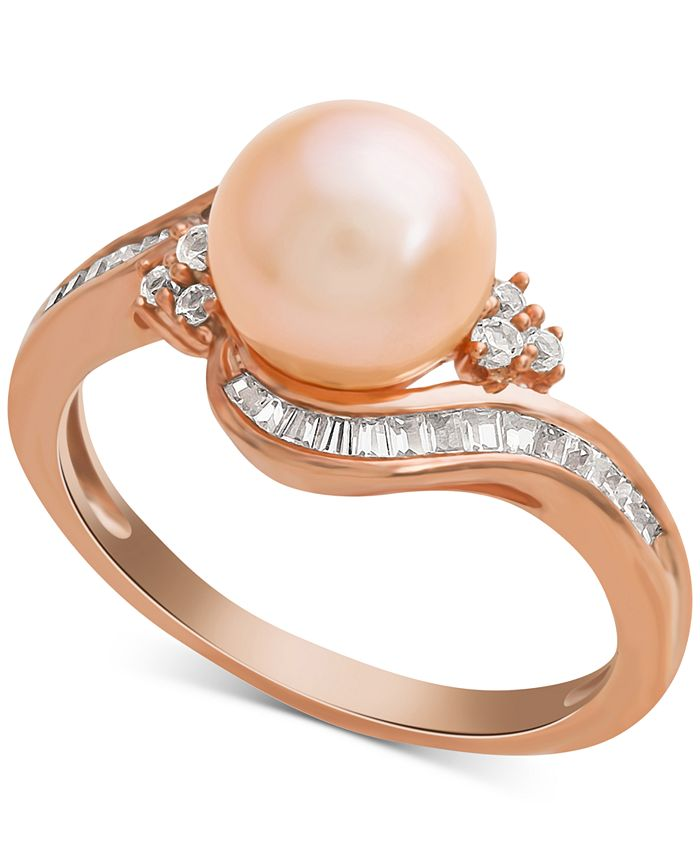 Macy's - Pink Cultured Freshwater Pearl (8mm) & Diamond (1/4 ct. t.w.) Swirl Ring in 14k Rose Gold