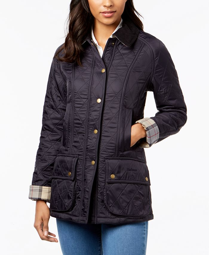 Barbour - Plaid-Trim Corduroy-Collar Utility Jacket