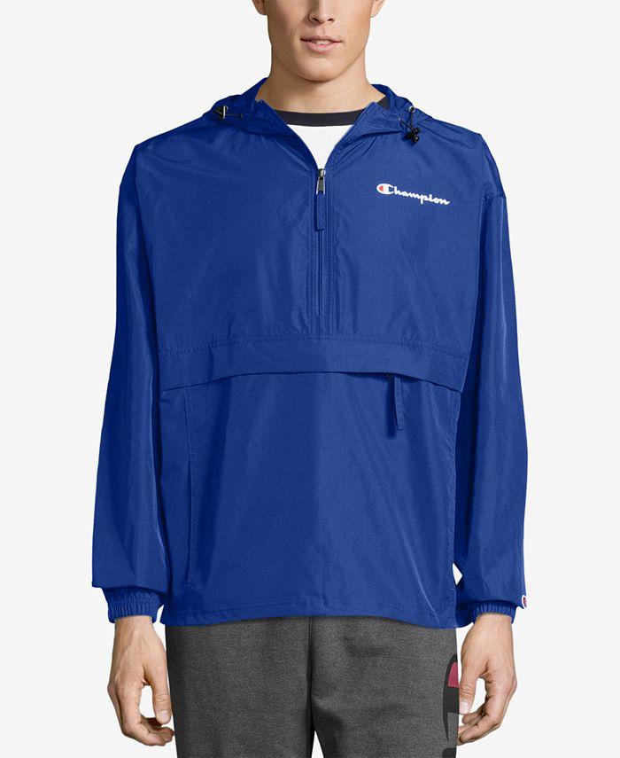 Champion - Men's Packable Half-Zip Hooded Water-Resistant Jacket