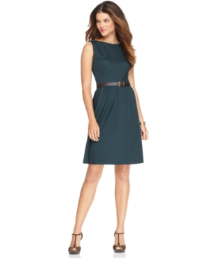 NY Collection Dress, Sleeveless Boatneck Belted A-Line