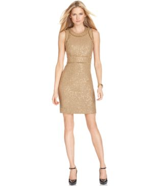 MICHAEL Michael Kors Dress, Sleeveless Sequin Fringe Trim