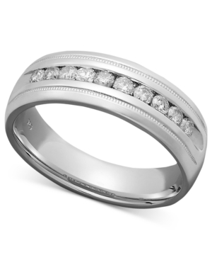 Men's Diamond Ring, Sterling Silver Diamond Milgrain Band (1 ct. t.w.)