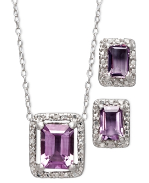 Victoria Townsend Sterling Silver Jewelry Set, Amethyst (2-3/4 ct. t.w.) and Diamond Accent Emerald Cut Pendant and Earrings Set