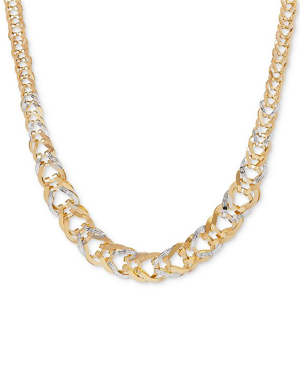 """Macy's Two-Tone Graduated Open-Link Chain 17"""" Collar Necklace in 14k Gold"""