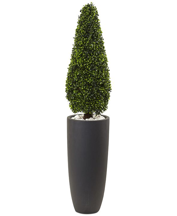 """Nearly Natural 50"""" Boxwood UV-Resistant Indoor/Outdoor Artificial Topiary with Gray Cylindrical Planter"""