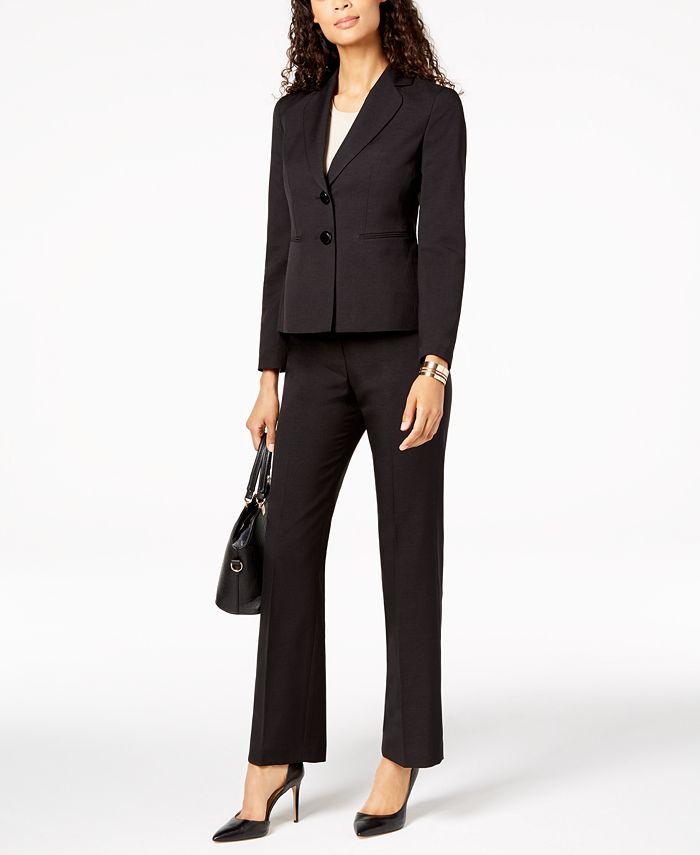 Le Suit - Two-Button Melange Pantsuit