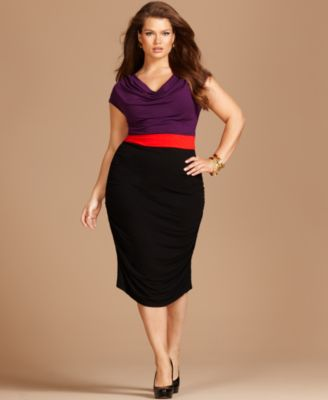 INC International Concepts Plus Size Dress, Cap Sleeve Colorblocked Cowlneck