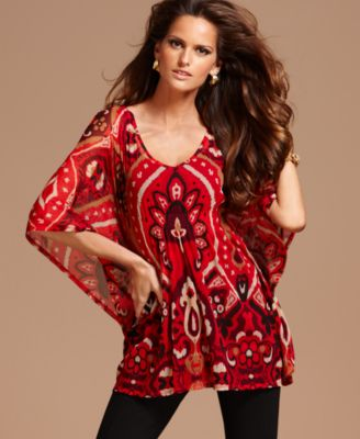 INC International Concepts Top, Kimono Sleeve Exotic Printed Empire Waist