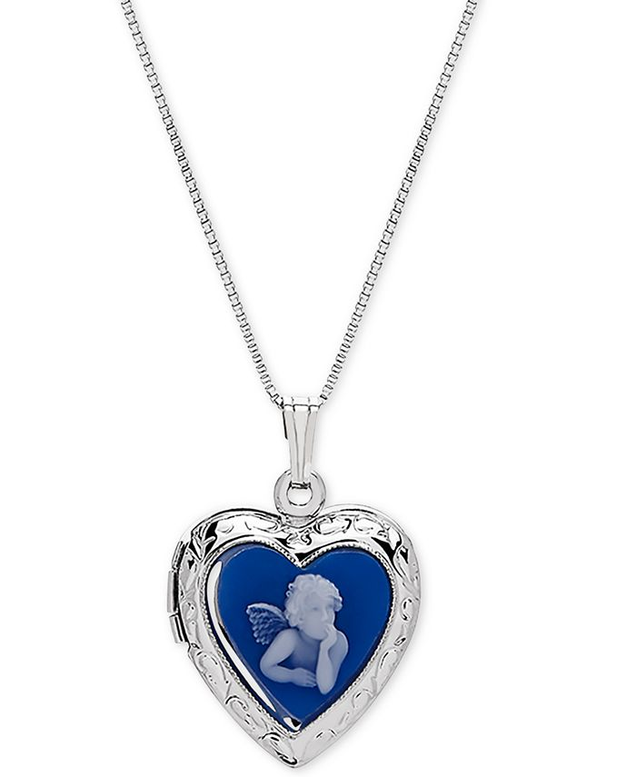 """Macy's - Angel Cameo Locket 18"""" Pendant Necklace in Sterling Silver"""