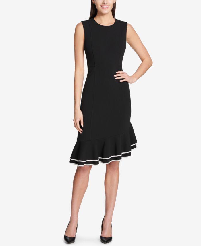 Tommy Hilfiger Flounce-Hem Scuba Dress & Reviews - Dresses - Women - Macy's