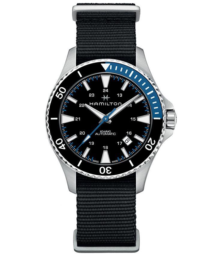 Hamilton - Men's Swiss Automatic Khaki Navy Scuba Black Nato Strap Watch 40mm
