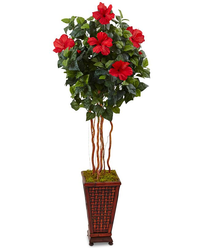 Nearly Natural 5' Hibiscus Artificial Tree in Decorative Wood Planter