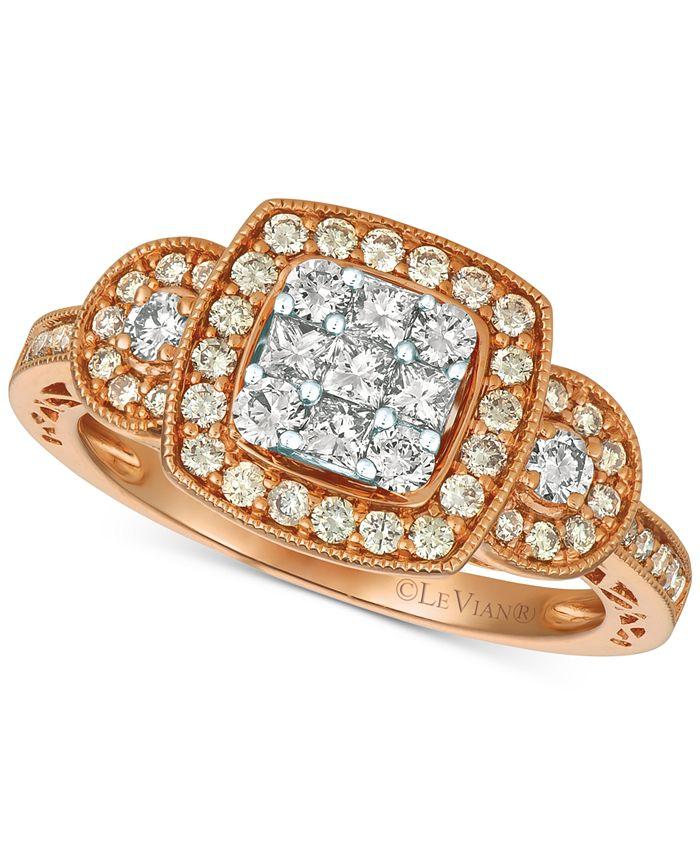 Le Vian - Diamond Cluster Ring (3/4 ct. t.w.) in 14k Gold & White Gold