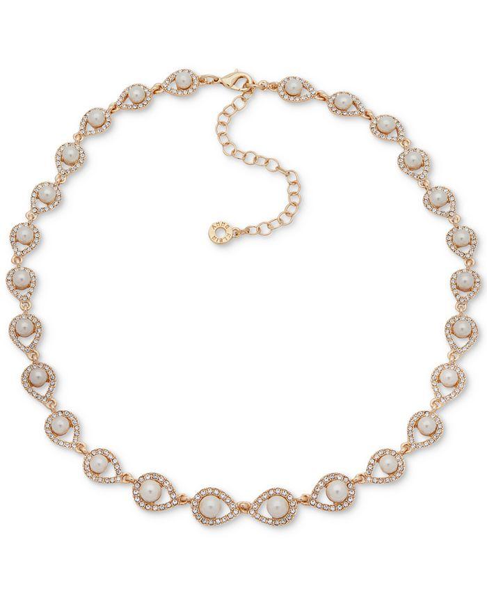 "Anne Klein - Gold-Tone Pavé & Imitation Pearl Collar Necklace, 16"" + 3"" extender"