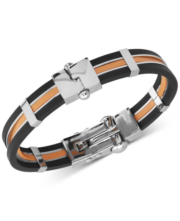 Macy's Men's Orange & Black Vulcanized Rubber Bracelet in Stainless Steel & Reviews - Bracelets - Jewelry & Watches - Macy's